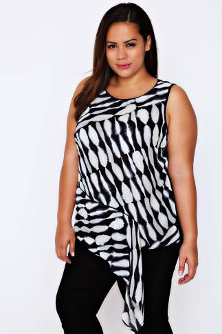LIVE UNLIMITED Black & White Abstract Print Asymmetric Top