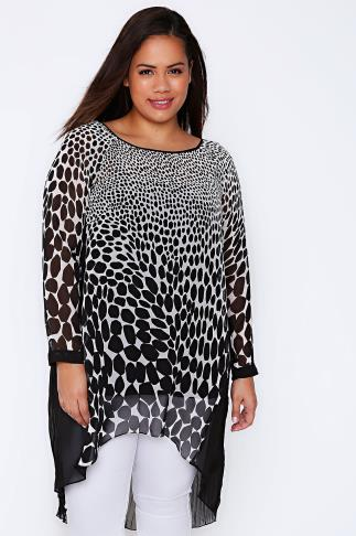 LIVE UNLIMITED Black & White Animal Print Longline Top With Pleat Back