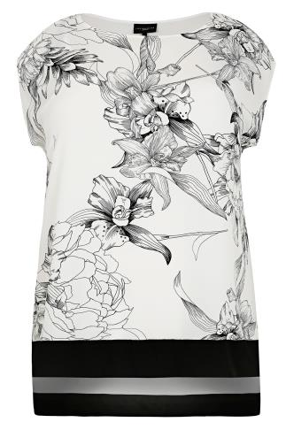 LIVE UNLIMITED Black & White Floral Sketch Print Top With Step Hem