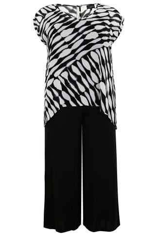 LIVE UNLIMITED Black & White Jumpsuit With Chiffon Overlay