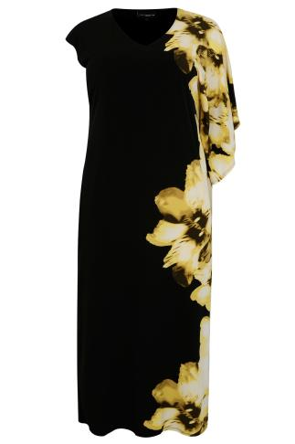 LIVE UNLIMITED Yellow & Black Floral Print Maxi Dress