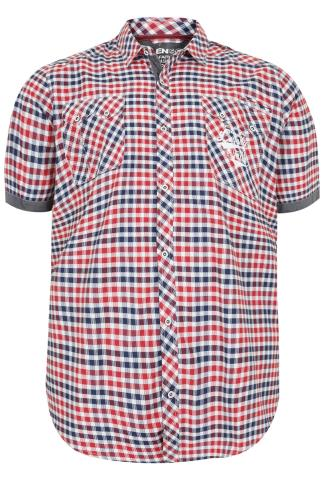 LOYALTY & FAITH White, Red & Navy Short Sleeve Checked Shirt
