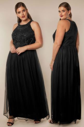 Evening Dresses LUXE Black Bead Embellished Fully Lined Maxi Dress With Mesh Skirt 156240