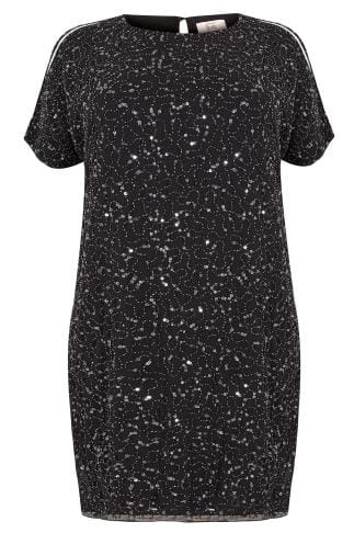Evening Dresses LUXE Black Sequin Embellished Fully Lined Cold Shoulder Cape Shift Dress 156230