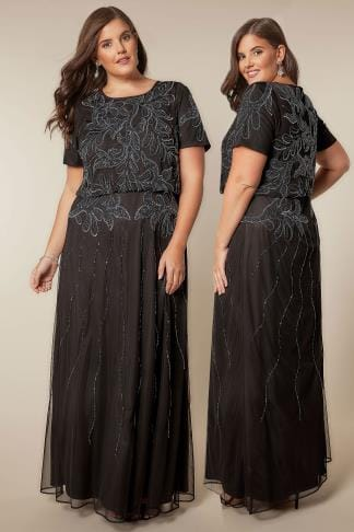 Evening Dresses LUXE Black Sequin Embellished Fully Lined Maxi Dress With Ruched Waist 156168