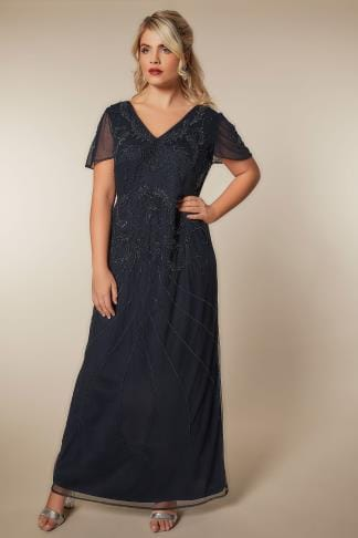 Evening Dresses LUXE Navy Sequin Embellished Fully Lined Maxi Dress With V-Neckline 156167