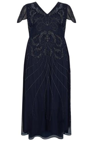 LUXE Navy Sequin Embellished Fully Lined Maxi Dress With V-Neckline