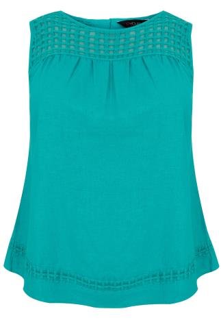 Lace Turquoise Sleeveless Top With Split Back