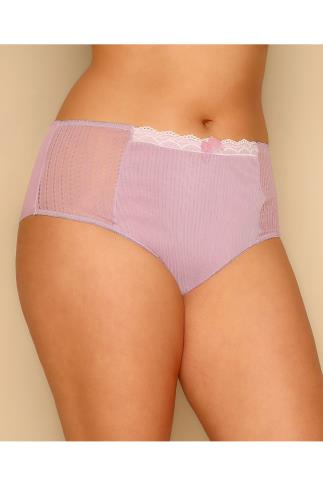 Lingerie Sets Lavender Purple Mesh Briefs With Lace Trim & Ribbon Detail 146067