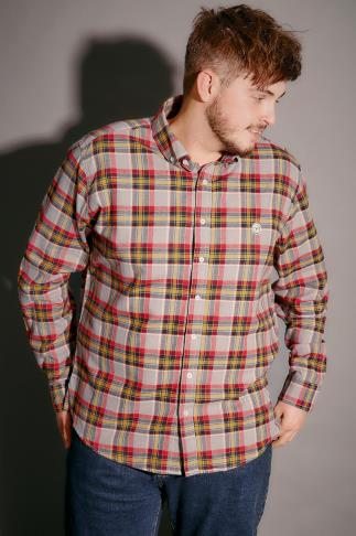 Le Breve Mustard, Red & Grey Checked Shirt