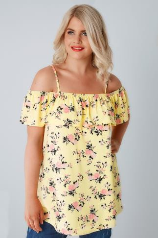Jersey Tops Lemon Yellow & Pink Floral Frilled Cold Shoulder Jersey Cami Top 132372