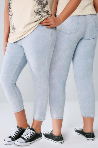 Courts Jeggings court extensible à enfiler délavé à l'acide bleu pâle  144026