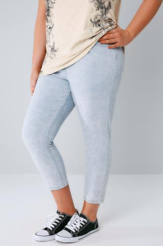 Light Blue Acid Wash Pull On Stretch Cropped Jeggings 144026
