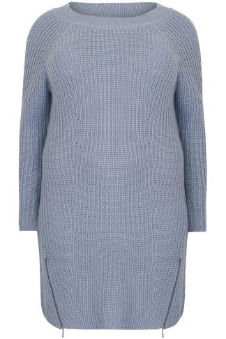 Tunikakleider Light Blue Chunky Knit Tunic Dress With Zip Hem 124090