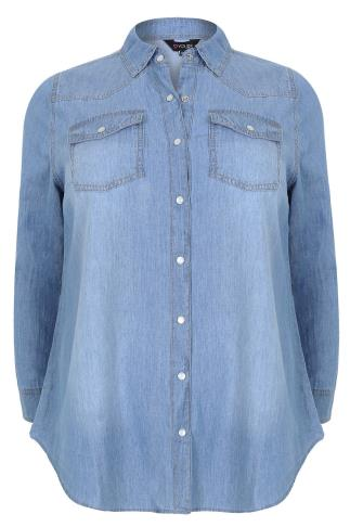Light Blue Denim Long Sleeved Shirt With Pockets