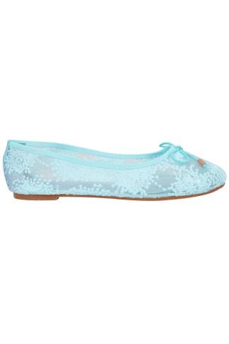 Light Blue Floral Mesh Ballerina Pump With Bow Detail In E Fit