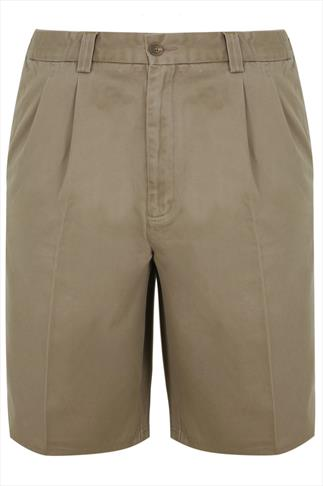 Light Brown Chino Shorts With Elasticated Waist Insert