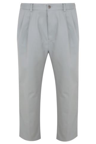 Light Grey Chinos With Pleats - TALL