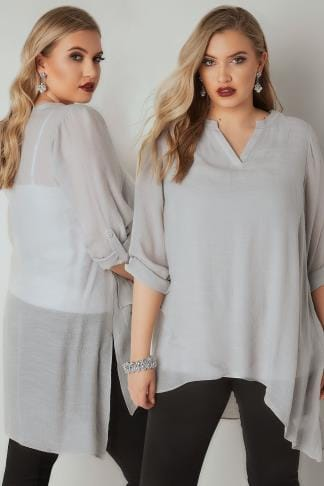 Longline Tops Light Grey Layered Blouse With Notch Neck & Dipped Hem 130257