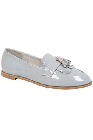 Light Grey COMFORT INSOLE Patent Slip On Loafers With Tassel Detail In E Fit