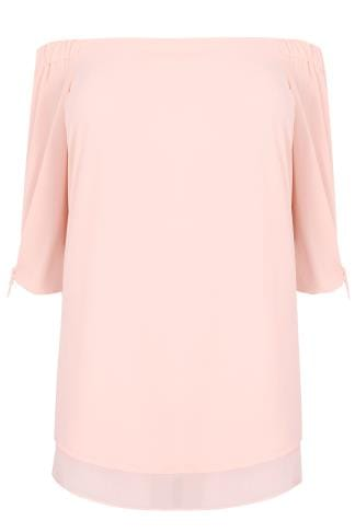 Light Pink Bardot Layered Hem Swing Top With Open Tie Detail Sleeve