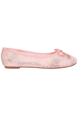 Light Pink Floral Mesh Ballerina Pump With Bow Detail In E Fit