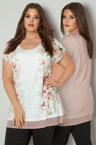 Day Tops Light Pink Floral Print Top With Chiffon Hem 132639