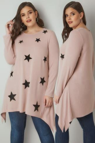 Jersey Tops Light Pink Textured Star Print Longline Knitted Top With Hanky Hem 132543