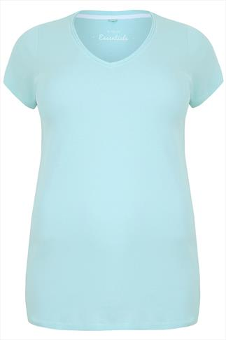 Light Turquoise Short Sleeved V-Neck Basic T-Shirt