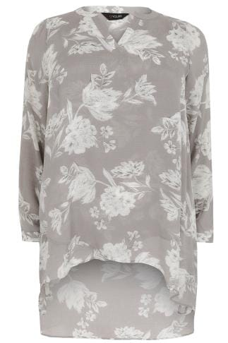Blouses & Shirts Grey Floral Print Layered Blouse With Notch Neck 130140
