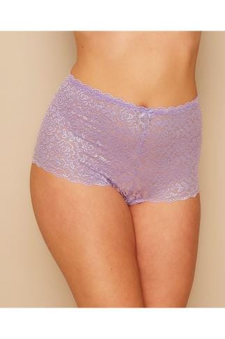 Briefs Knickers Lilac Shine Lace Shorts 100173