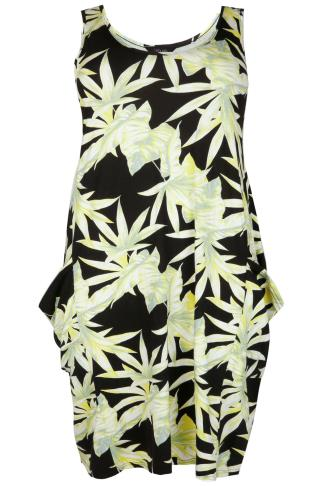 Lime & Black Palm Leaf Print Drape Pocket Sleeveless Jersey Dress