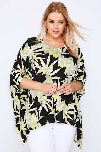 Lime & Black Palm Leaf Print Oversized Top With Hanky Hem
