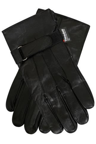 THINSULATE Black Lined Leather Gloves