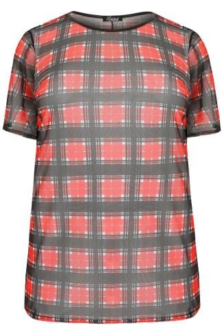 Hauts journee LIMITED COLLECTION Red & Black Checked Mesh Top 210239
