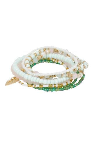 Jewellery 8 PACK Pastel Pink & Green Beaded Bracelets 102674