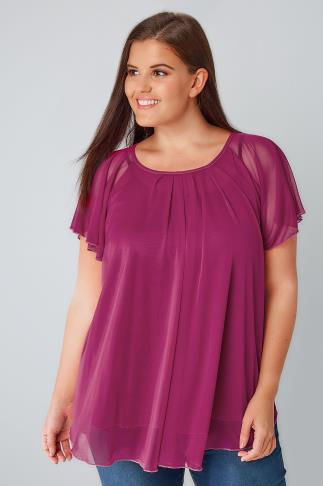 Magenta Double Layered Mesh Lightweight Blouse With Angel Sleeves 170141
