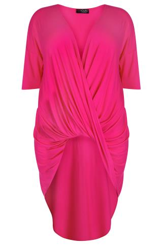 Magenta Pink 3/4 Sleeve Twist Front Extreme Dip Back Top