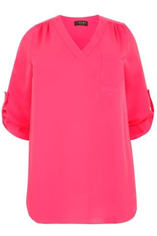 YOURS LONDON Magenta Pink Woven V-Neck Blouse With Pocket