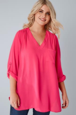 Blouses & Shirts Magenta Pink Woven V-Neck Blouse With Pocket 156171