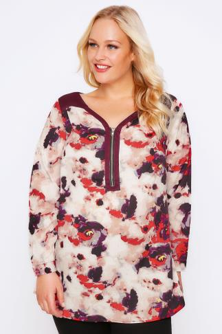 Maroon Smudge Print Top With Zip Detail