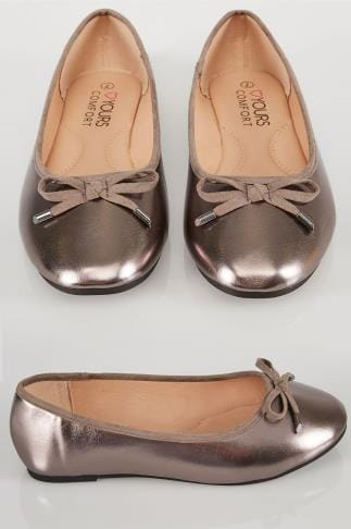 Chaussures larges plates Metallic Pewter COMFORT INSOLE  Ballerina Pumps In True EEE Fit 154045