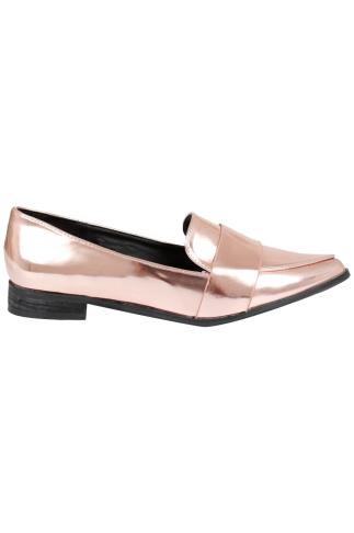 Metallic Rose Gold COMFORT INSOLE Pointed Toe Loafers In E Fit 057438