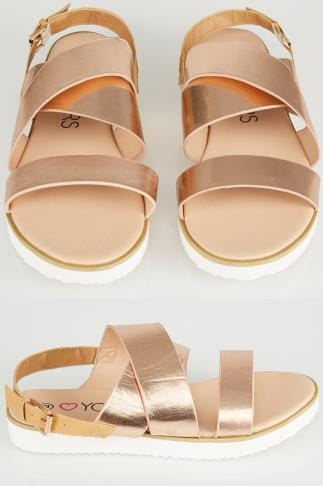 Wide Fit Sandals Metallic Three Strap Flat Sandals With Contrast Back Strap In EEE Fit 056456