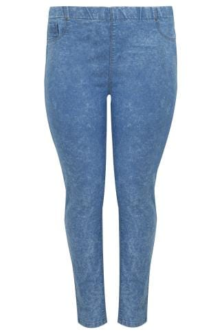 Mid Blue Acid Wash Denim Jeggings With Elasticated Waist
