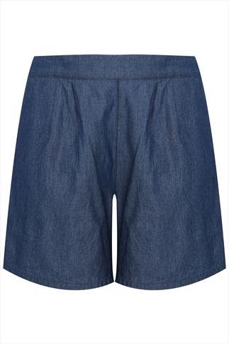 Mid Blue Chambray Denim Shorts