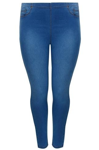 Mid Blue Denim Bum SHAPER Jeggings With Elasticated Waist
