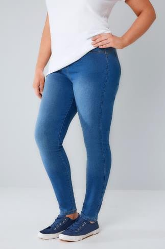 Jeggings Mid Blue Denim Bum SHAPER Jeggings With Elasticated Waist 101076