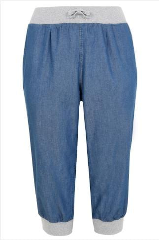 Cropped Trousers Mid Blue Denim Cropped Jogger Trousers With Stud Detail 144052