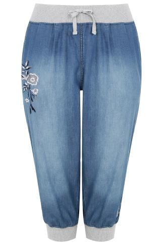 Mid Blue Denim Cropped Jogger Trousers With Floral Embroidery